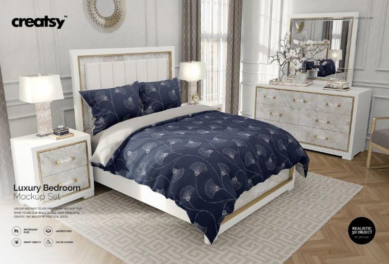 Luxury Bedroom Mockup PSD