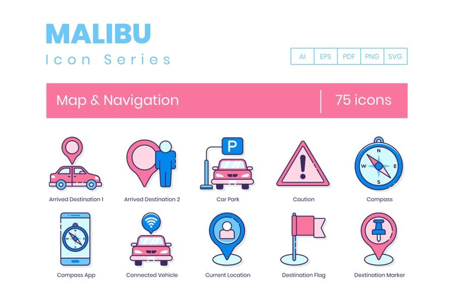 Maps and Navigation Icon Set