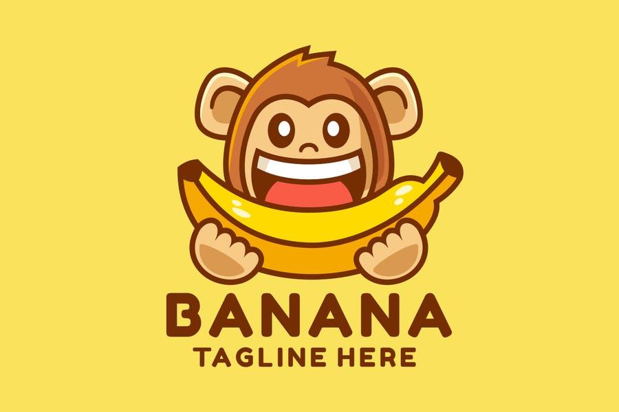 Monkey Eating Banana Illustration