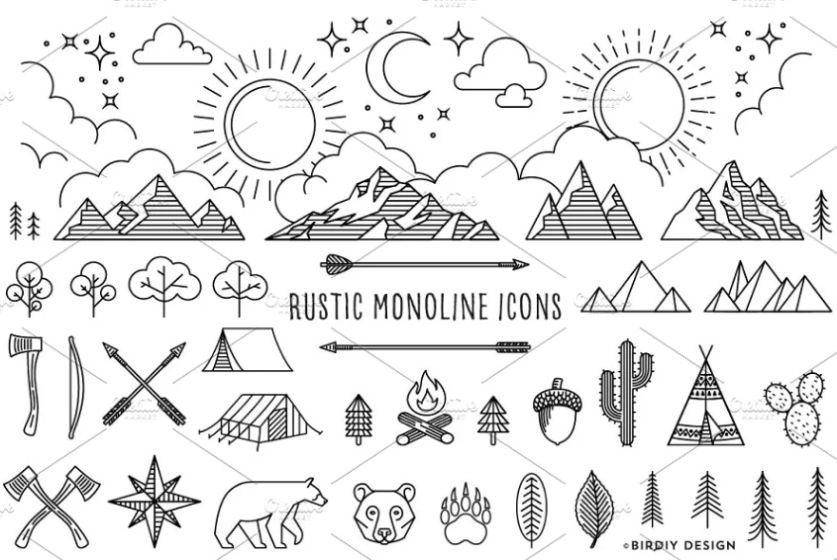 Monoline Rustic Icons Set