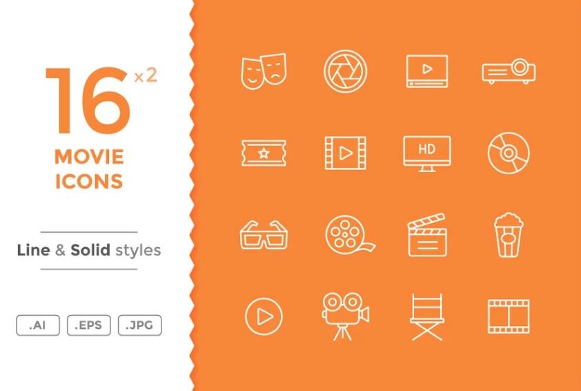 Movie and Cinema Icons Set