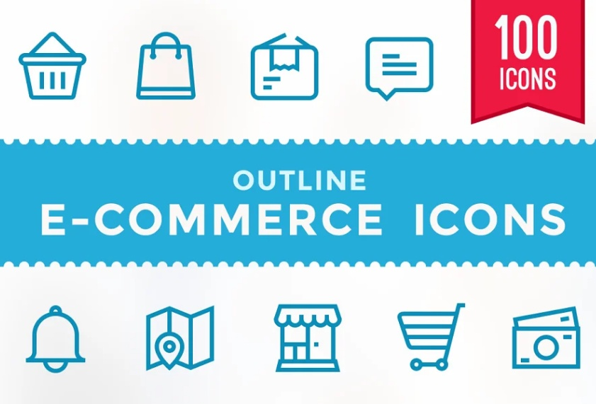 Outline Shop Icons Set