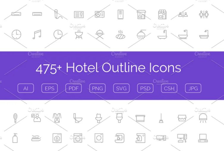 Outline Style Hotel Icons