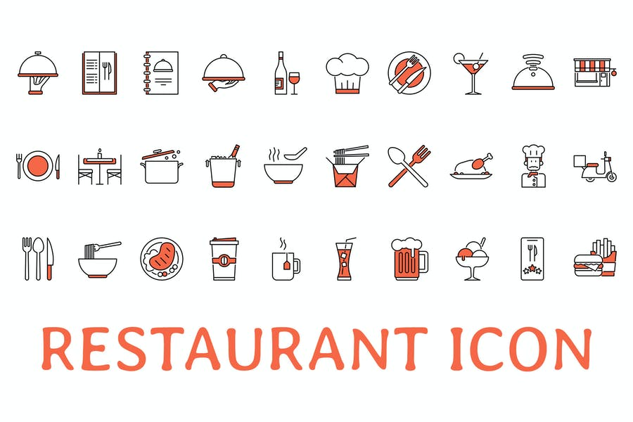 Outline and Orange Icons