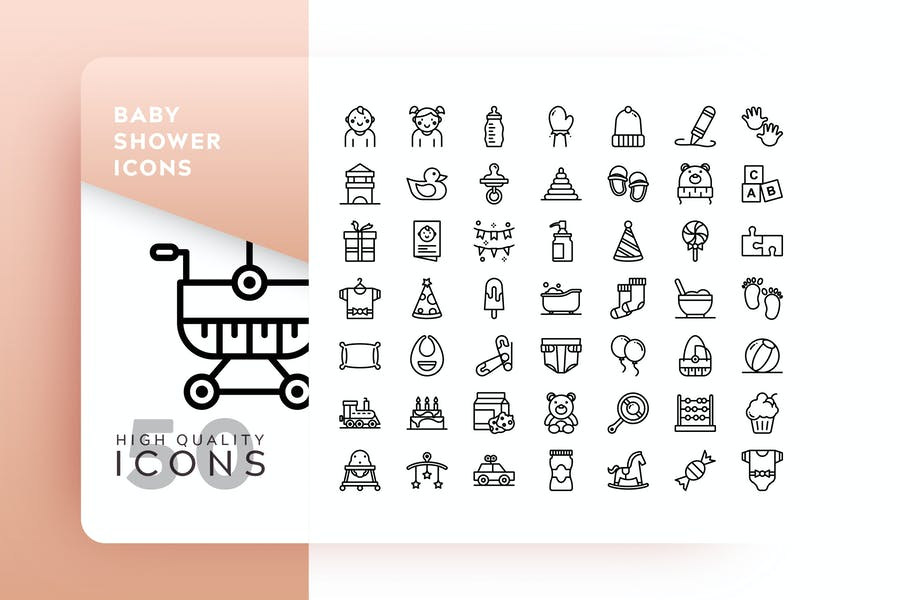 Outlined Baby Shower Illustrations