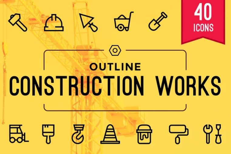 Outlined Construction Icon Set