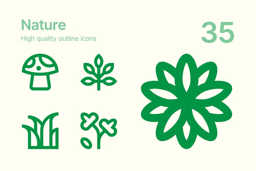 Outlined Nature Icons Set