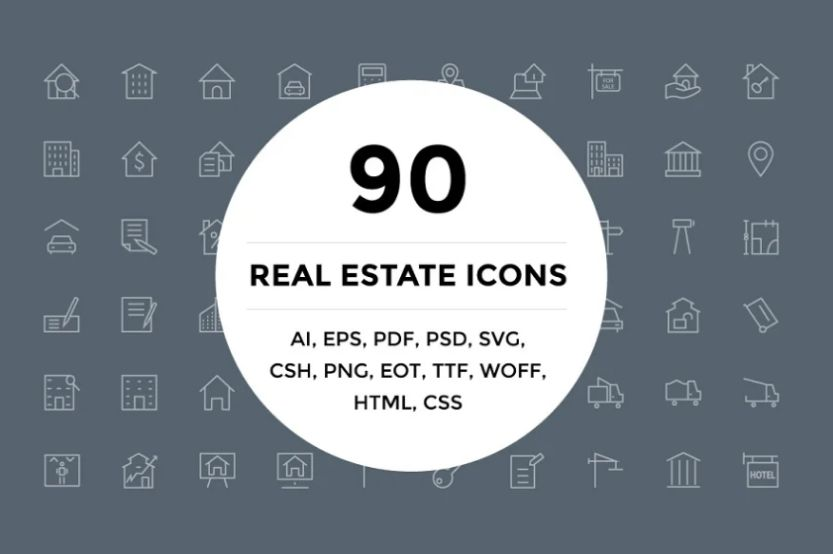 Outlined Real Estate Icons Set