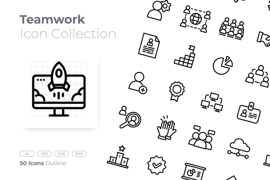Outlined Teamwork Collection Set