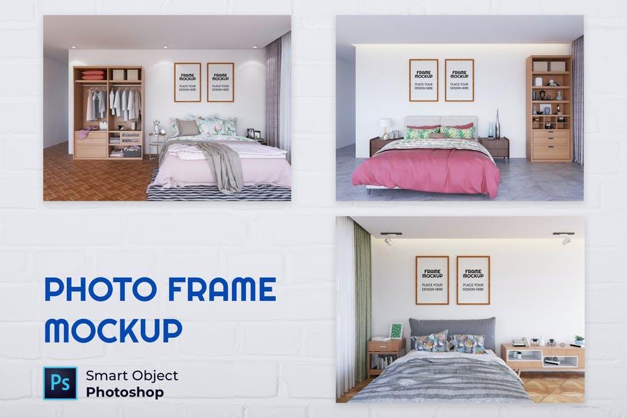 Photo Frame in Bedrom Mockup