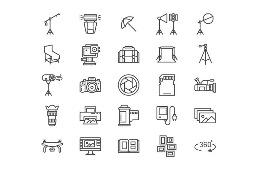 Photography Equipment Icon Set