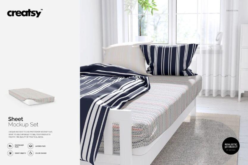 Printable Bedsheet Mockup PSD