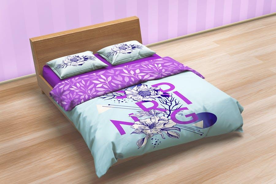 Realistic Bed Mockup Set