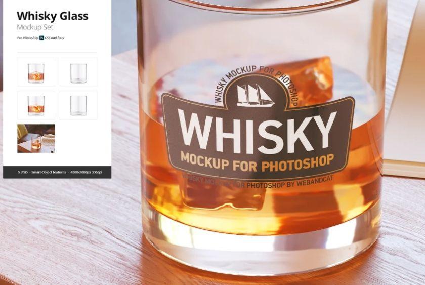Realistic Whisky Glass Mockup Set