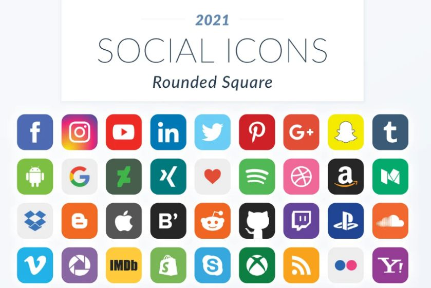 Rounded Square Icons Set