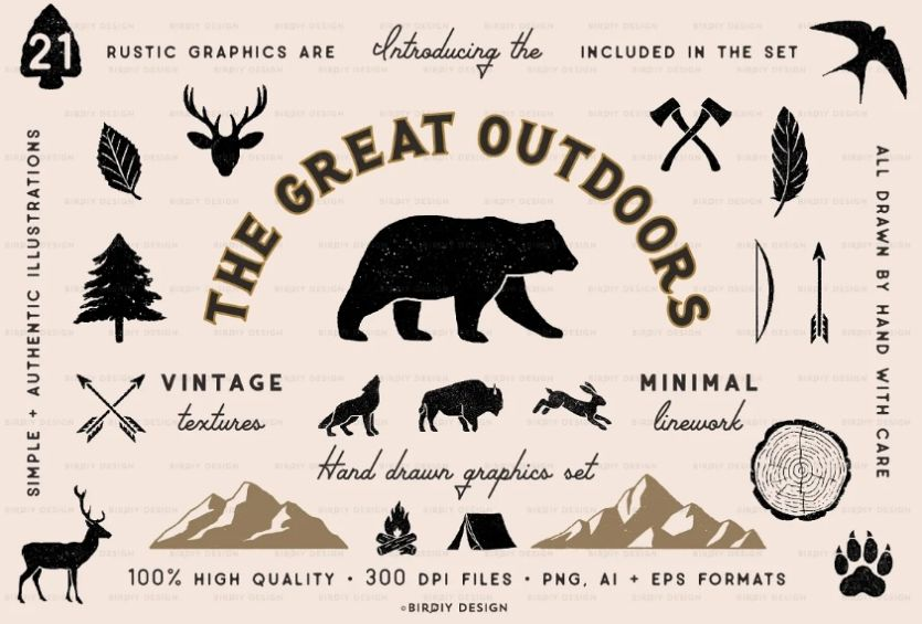 Rustic Natural Icons Illustrations