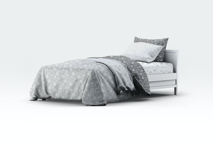 Single Bedding Scene Mockup