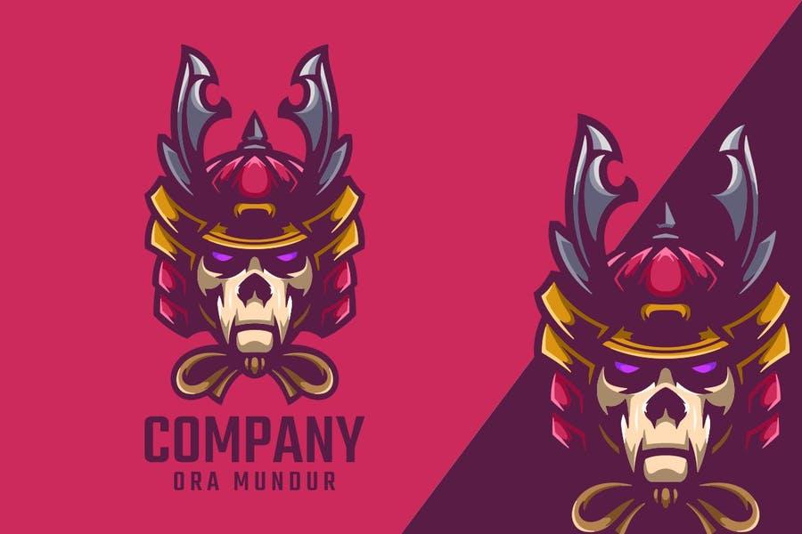 Skull Style Samurai Logo