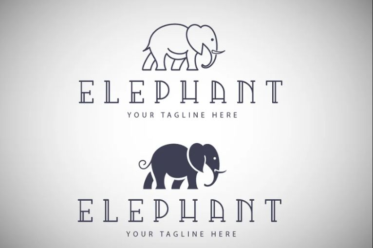 Solid and Inline Elephant Logo