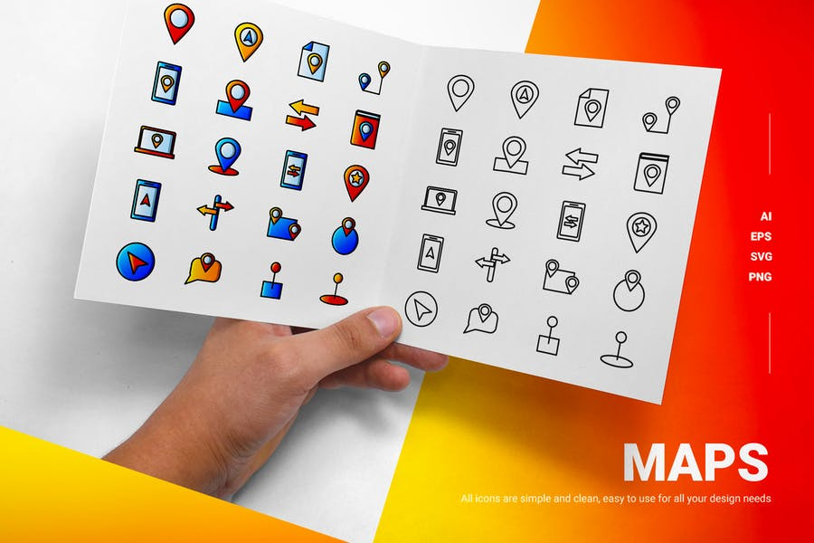 Solid and Lined Map Icons