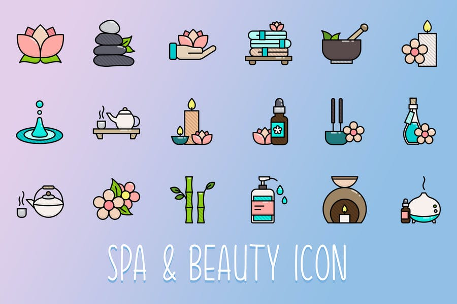 Spa and Beauty Icons Set