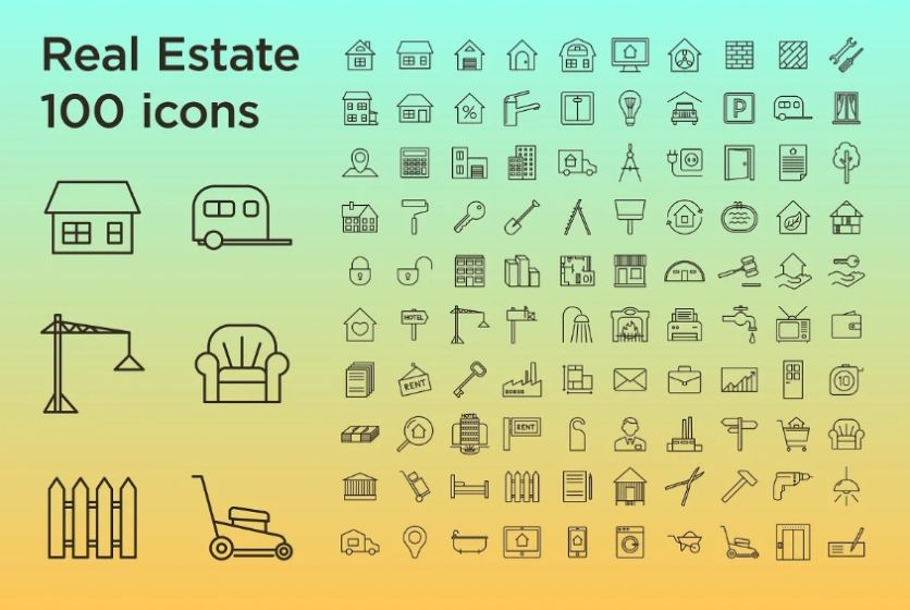 Stroke Style Buildings and Apartment Icons