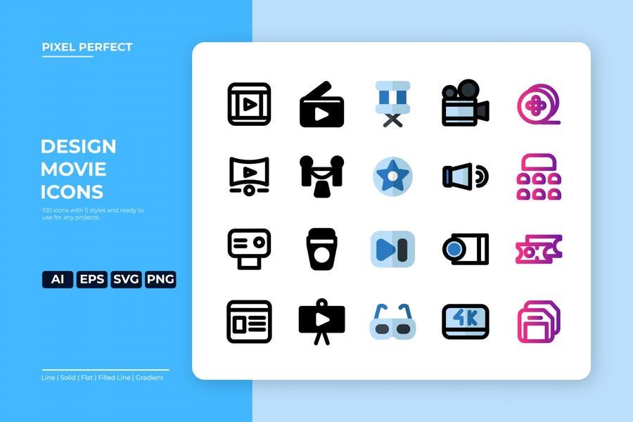 Stylish Movie Design Icons Set