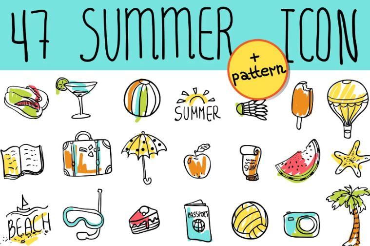 Summer Doodle Icon Set