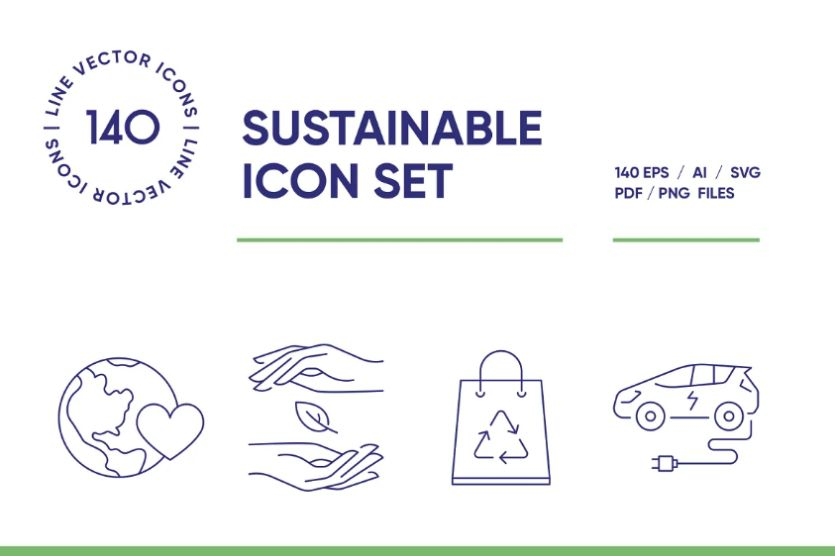 Sustainable Packaging Linear Icons