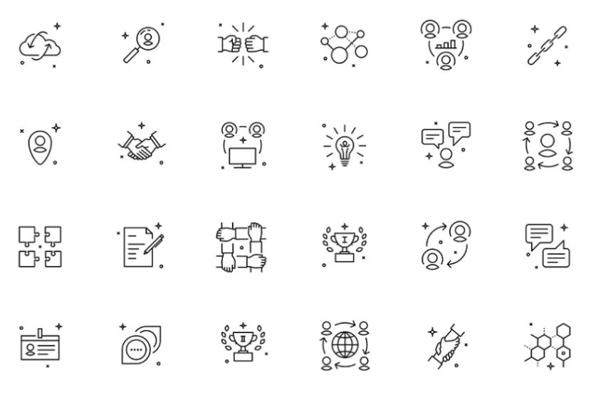 Thin Line Team Icons