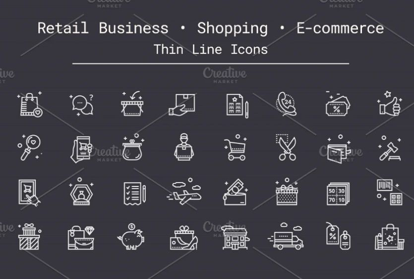 Thin Retail Business Icons set