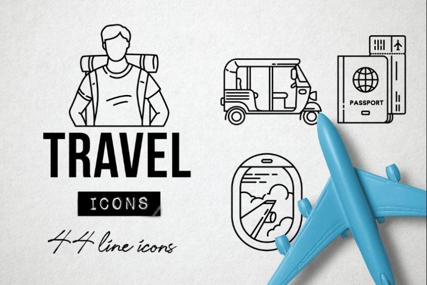 Travel Symbols and Monuments Icons Set