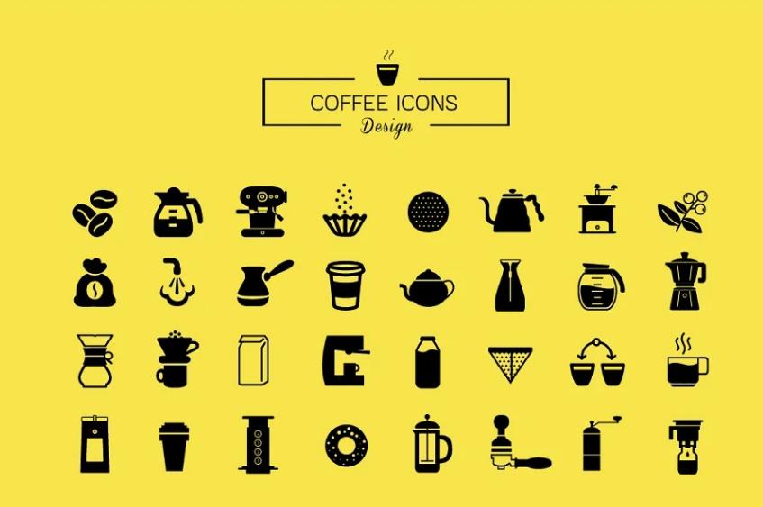 Unique Cafe Icons Set