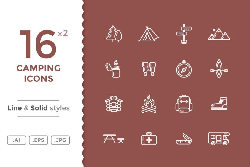 Unique Camping Icons Set