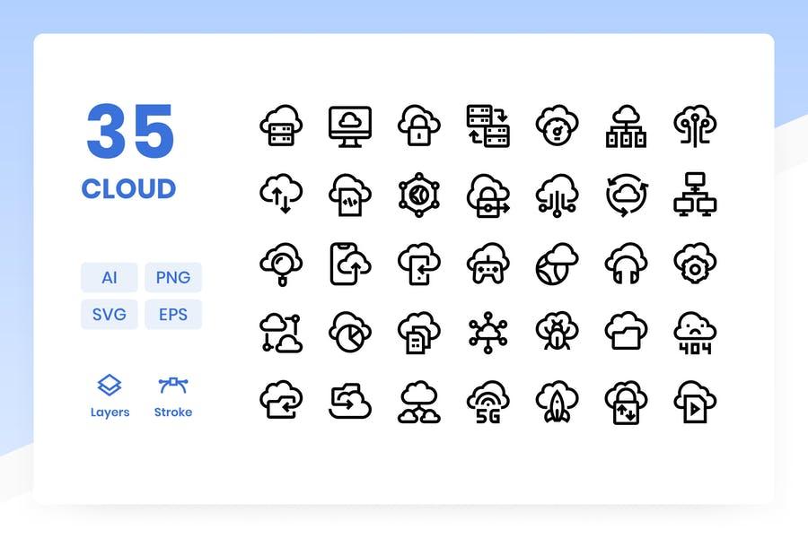 Unique Cloud Data Icons Pack