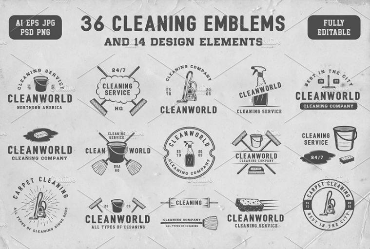 Vintage Cleaning Emblems