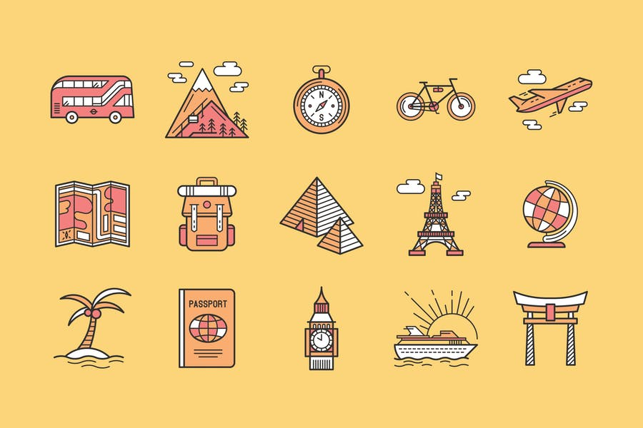 Vintage Style Travel Icons Set