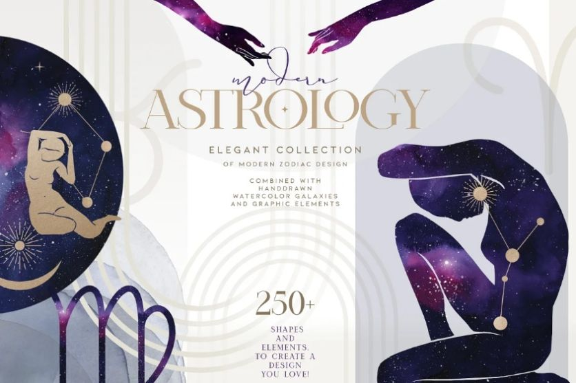 Watercolor Style Astrology Icons