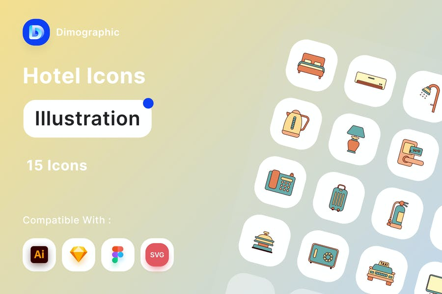 Watercolor Style Vector Icons