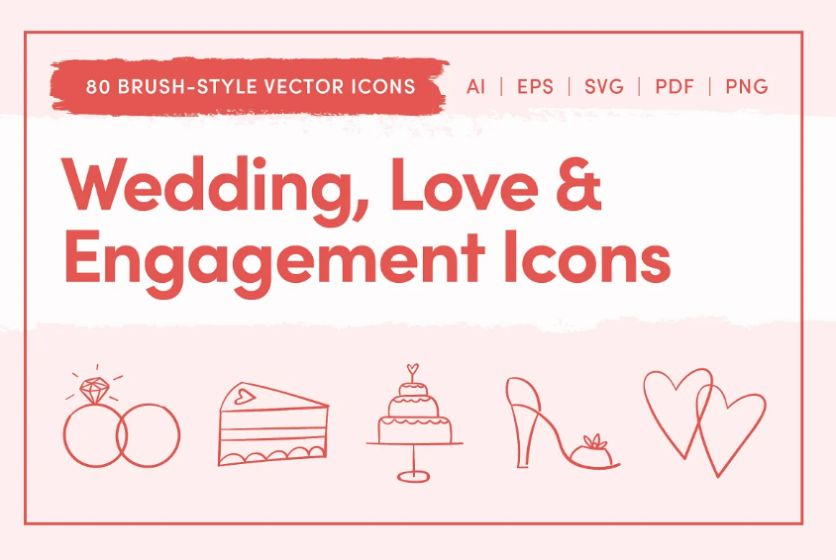 Wedding Love and Engagement Icons