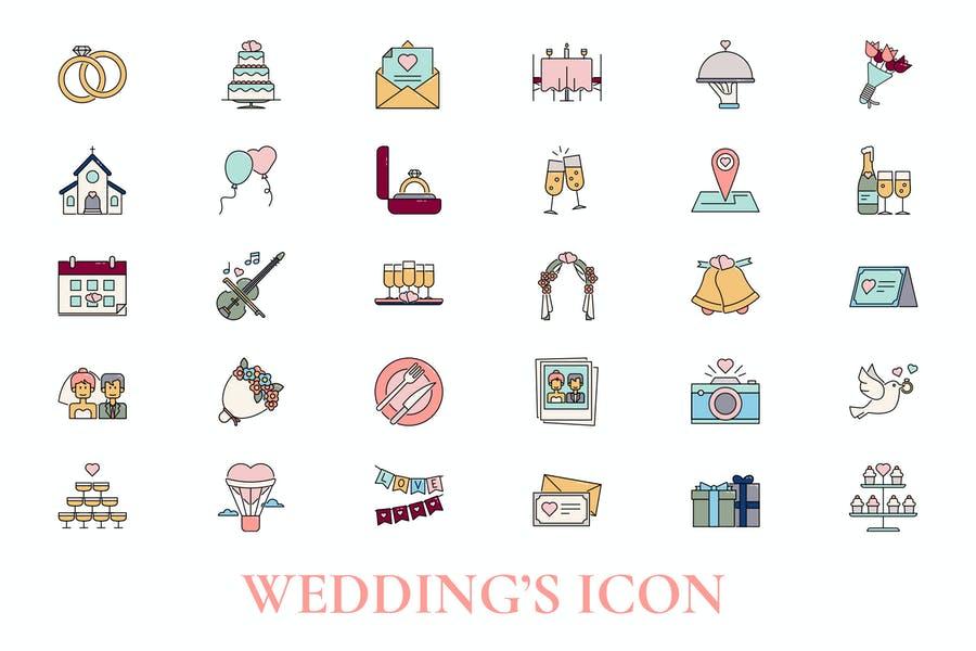 Wedding Vector Icons Set