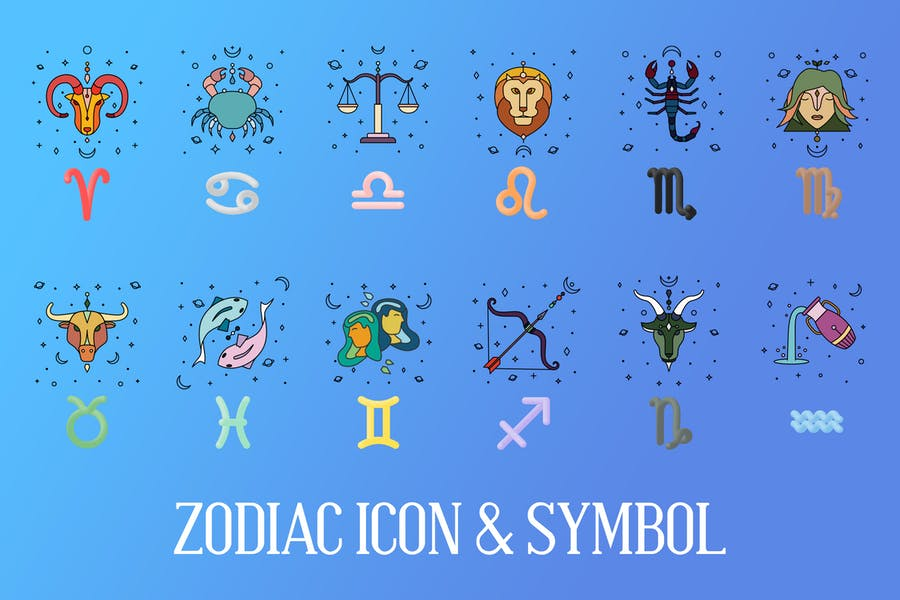 Zodiac Icons and Signs