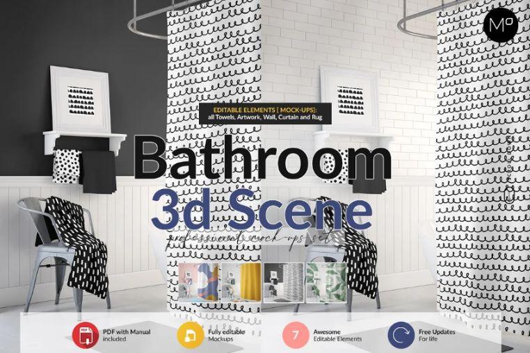 3D Bathroom Scene Mockup