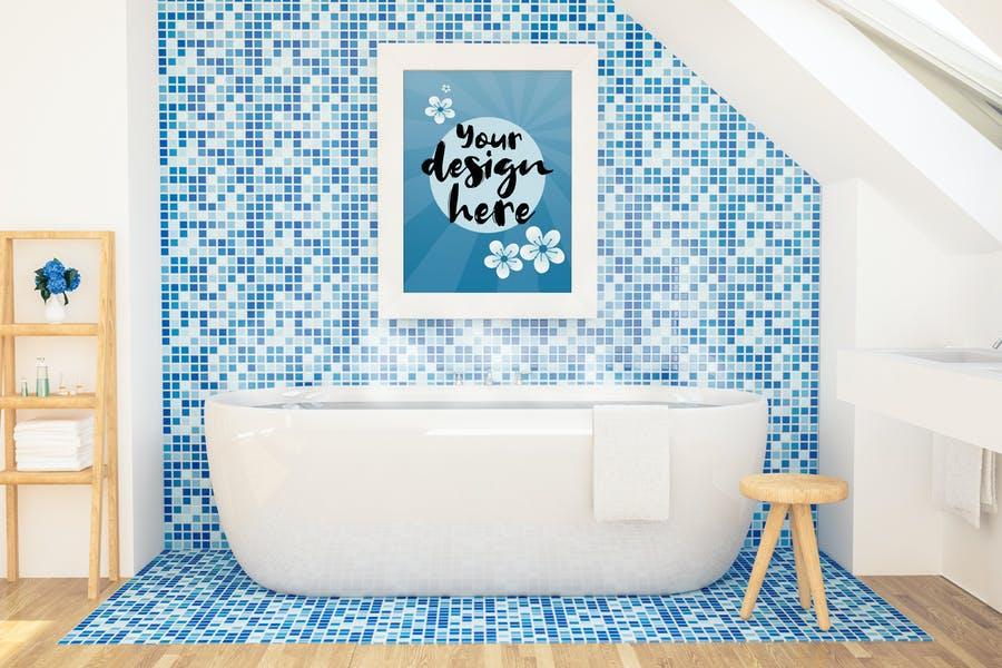 Blue Bathroom Mockup PSD