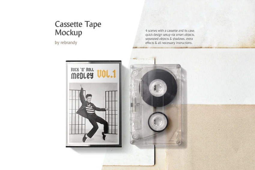 Cassette Box Mockup PSD