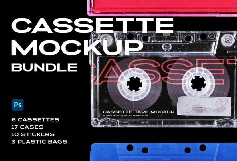Cassette Tape Mockup PSD Bundle