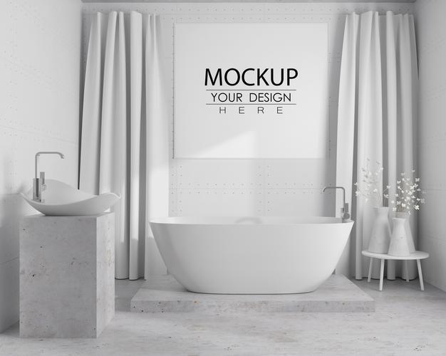 Free Bathroom Poster Mockup
