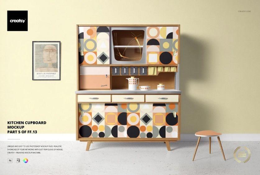 Kitchen Cupboard Mockup PSD