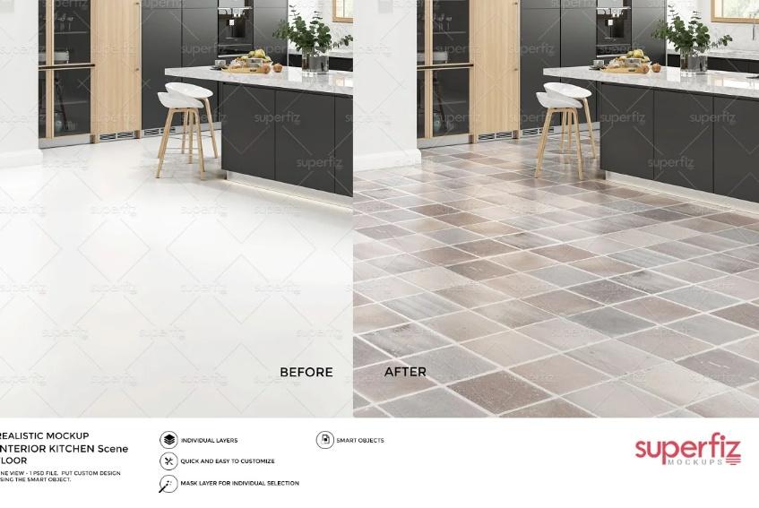 Kitchen Floor Mockup PSD