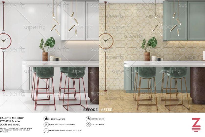 Kitchen Wall and Floor Mockups